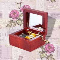 Wholesale Crank Boxes Wholesale - Retro and Elegant Red Wood Musical Box Hand Crank Music Box with Mirror Melody Castle in the Sky Best Gift for Children I1160