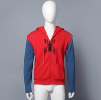 Wholesale Spiderman Sweatshirt - Spider-Man Homecoming Cosplay Superm FullZip Pullover Hoodies Men Sweatshirt SpiderMan cosplay Jacket