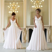 Wholesale Wedding Short Dress Cheap Price - 2015 new arrival chiffon flowers v-neck wedding dresses floor length backless summer beach simple bridal gowns in stock cheap price dresses
