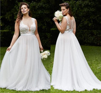 Wholesale Discount Lace Wedding Dresses - Plus Size Lace Wedding Dresses Discount Beach Bridal Gowns Sheer Neck Back 2016 A-Line Jewel Appliques Dresses for Wedding Beautiful