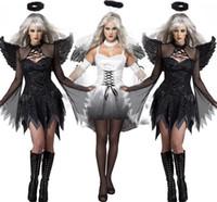 ingrosso abbigliamento scuro-New Black Dark Devil Fallen Angel Costume con Wing Sexy Adult Cosplay Abbigliamento esotico Costume di Halloween per le donne 8845