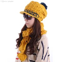 Wholesale Women Discount Gloves - Wholesale-YM-12# Women Beads Decor Pom Pom Hat & Ruffled Hem Winter Wool Scarf Discount 50