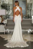 Wholesale Satin Open Back - Sexy Cross Belt Open Back Wedding Dresses 2015 Spring Beach Casual Wedding Dress