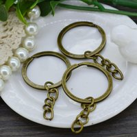 Wholesale Double Loop Chains - Wholesale 50pcs 25X30mm Split Ring Key Ring & Key Chain Antique Bronze Double Loops Jump Rings Jewelry Findings