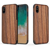 ROCK Creative Wood Grain Series para iPhone X Funda TPU Anti-knock Protection Funda Wooden + PU Funda funda
