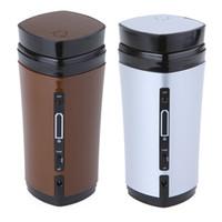 pil kahve toptan satış-Taşınabilir USB Powered Kahve Fincanı Çay Kupa 130 mL su ısıtıcısı Isıtıcı Hediye Gadget ile Dahili Şarj Edilebilir Li-pil