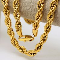 Wholesale 24k Gold Necklace Twist Chain - High quality 100% 24K Gold plated 76cm Long Cuba chain Twisted Men Hiphop Rope Chain Necklace Fashion Jewelry bijouterie new