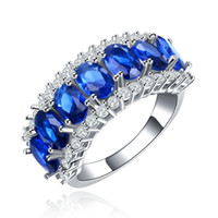 Wholesale Jewelry Blue Stone Rings - Fashion blue crystal and white Cubic Zirconia intersect sides Party Trendy white gold filled jewelry Wedding Bands rings MSR132