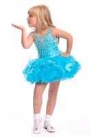 kleinkind mädchen kleider besondere anlässe großhandel-Blaue Spaghetti Ballkleid Short Mini Cupcake Mädchen Pageant Kleider Infant Toddler Birthday Party Dresses Über dem Knie besondere Anlässe Kleider