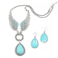 Wholesale Angle Wings Earring - 2014 Hot sale angle wing Turquoise Jewelry Set Vintage Tibet Silver Necklace Earring Set Free Shipping