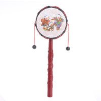 Wholesale Traditional Toys For Kids - Wholesale- Kids Cartoon Hand Bell Plastic Chinese Traditional Rattle Drum Spin Toy For Baby W15