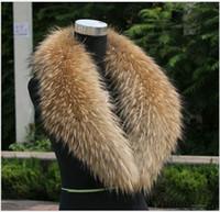 bufandas de piel para mujer al por mayor-Bufandas de piel para hombres o mujeres con 100% de cuello de piel de mapache real para el color de la capa natural abajo varía el tamaño de la longitud 75-100cm Envío gratis