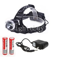 Wholesale High Power Zoom Headlight - wholesale 1800 Lumen CREE XML T6 High Power LED Headlamp Headlight Flashlight Torch 3 Modes + 2 X 18650 Batteries + Charger