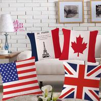 Wholesale Union Jack Flag Cotton Linen - Square Linen Home Decorative Union Jack US Flag Pillow Cases Cushion Cover