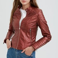 2018 New Fashion Women Wine Red Faux Casacos de couro Lady Bomber Motorcycle Cool Outerwear Coat Boa qualidade Hot Sale 5 Color