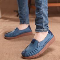 Wholesale Worn Womens Shoes - Woman Loafers Soft Comfortable Genuine Leather Casual Shoes For Womens Wear-resisting Rubber Outsole Ladies Flat Single Shoes Retail H491