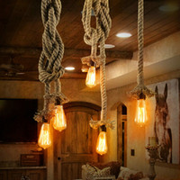 Wholesale Type Rope Lighting - Yellow droplight type lamps lanterns optional collocation Hemp rope chandelier Single head bulb Rustic retro style creative lighting