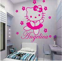 Wholesale Vinyl Wall Art Paintings - HELLO KITTY With Flowers Fairy Personalized Name Cartoon Wall Sticker Art Decal Vinyl Mural Painting Princess Girl Room Decor