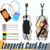 Wholesale Iphone Strap Holder - Credit ID Card Bag Holder Silicone Lanyards Neck Strap Necklace Sling Card Holder Strap For iPhone X 8 Universal Mobile Cell Phone