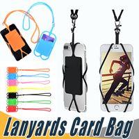 orangenschlinge großhandel-Kreditkarten-ID-Kartenhalter Silikon Lanyards Neck Strap Halskette Sling Card Holder Strap für iPhone X 8 Universal Mobile Handy
