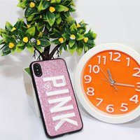 2017 Fashion Design Glitter 3D Ricamo Love Pink Phone Case per iPhone X, iPhone 8, 7, 6 Plus