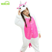 erkek çocukları onesie toptan satış-2017 Yeni Pijamas çocuklar kış hayvan karikatür unicorn onesie unicorn kostüm çocuk erkek kız pijama noel çocuklar pijama setleri