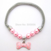 Wholesale Pearl Dog Collar - Wholesale-Pet Cat dog pearls necklace collar bone charm pendant Puppy jewelry 4 colors 5 sizes