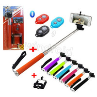 Wholesale Camera Holders Kit - Extendable Selfie Stick Handheld Monopod+Clip Holder+Bluetooth Camera Shutter for iPhone Samsung 3 in 1 kits with retail package Free 50pcs