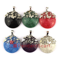 Wholesale Mixed Scarf Pendant Jewelry - Fashion Style Necklace Pendant Scarf Jewelry 6 Colors Mixed Butterfly Design Charm Round Resin Jewellery Scarf Pendant, Free Shipping, AC415