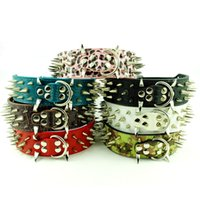 Wholesale Spiked Collars For Big Dogs - MOQ:30pcs Pitbull Leather Spiked Studded Dog Pet Collars for Big Dog XL L M S
