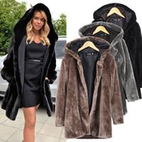 siyah mink kürk montlar toptan satış-Toptan-Kış Siyah Faux Kürk Yaka Uzun kollu Kapşonlu Kalınlaşmak Kürk Vizon Ceket Kadın Artı Boyutu Sıcak Palto 9021