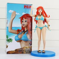 Wholesale One Piece Figure Model - 26cm Anime One Piece Nami PVC Action Figure Toy Model Dolls In Swimsuit Can Be Taken Off Great Gift With Box