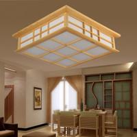 Wholesale Tatami Wood - Solid wood japanese style lamp room lights tatami lamp sheepskin lamp ceiling light study light 8607
