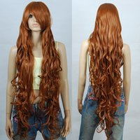 Wholesale Extra Long Curly Cosplay Wig - Fashion Popular 120cm Chocolate Brown Extra Long Curly Cosplay Wigs