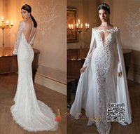 Wholesale Embellished Chiffon Dress Pink - Sexy Berta 2015 Mermaid Wedding Dresses With Detachable Chiffon Cape V-neck Long Sleeve Sheer Back Lace Embellished Chapel Train Bridal Gown