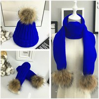 Wholesale Knitted Hat Gloves Scarf - High Quality Hat lady knit cap tide winter pearl wrap warm winter Hats, Scarves & Gloves Sets