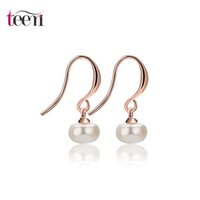 Wholesale Cheap Girls Studs - Teemi Brand Wholesale Cheap New Cute Round Pearl Pendant Stud Earrings White&Rose Gold Plated Brincos for Women Wedding Girl Jewelry Gift