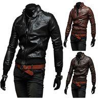 Wholesale Cheap Winter Waterproof Jackets - Top Selling Cheap Male Motorcycle Leather Jacket Winter Warm Jackets Male Short Coats Multi Zipper Waterproof Fashion Designer Jackets