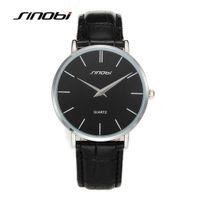 Wholesale Sinobi Watches Japan - Super slim Quartz Casual Wristwatch Business Brand JAPAN SINOBI Brand Genuine Leather Analog Quartz Watch Men's Relogio Masculino