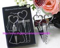 100sets 200pcs Wine Bottle opener Heart Shaped Great Combination Штопор и стоппер Heart-Shaped Sets Wedding Favors Gift