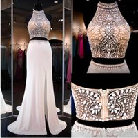 Wholesale Halter Neck Top Slit - Wholesale - Ivory Two Pieces Dresss Prom Gowns High Beaded Neck Halter Open Back Slit Illusion Crop Top Mermaid Prom Dresses Party Gowns