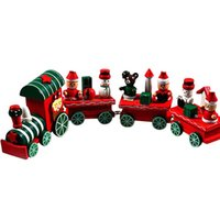Wholesale Train Pieces Wooden - 2017 4 Pieces Wood Christmas Xmas Train Decoration Decor Gift Indoor Christmas Decoration Rosonse-461221,Free Shipping
