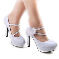 Wholesale Ladies White Dress Flowers - 4.8 inch High Heels Wedding Shoes Lady Formal Dress Flower Women's Shoes Fashion Dance Shoes Performances Prom Shoe DY563-28 White
