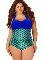 Wholesale Hot One Piece Bathing Suits - L~4XL Fashion Plus size One Piece Swimsuit 2016 Hot Beachwear Vintage Bathing Suit High Waist Plus Size Women Mermaid Swimwear Bodysuit