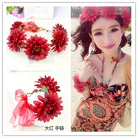 Wholesale Seaside Bracelets - Bohemia Style Girl Flower Headwear Wedding Headband Girl Anadem + Bracelet Beach Accessories Headdress Seaside Holiday Photograph DF428