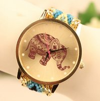 Wholesale Handmade Wool Dresses - New Elephant printing handmade watch women wool weaving quartz bracelets watches for women fashion dress ladies wristwatch