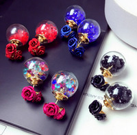 Wholesale Wholesale Earring Stud Backings - New Fashion Womens Double Sided Rose Flower Front and Back Stud Earrings Earring Studs Gift Jewelry Accessory