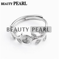 Wholesale zircon jewellery - HOPEARL Jewelry Ring Findings Leaves Design Zircon 925 Sterling Silver for DIY Jewellery Making 3 Pieces
