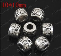 Wholesale Large Nose Studs - Free shipping 30 PCS lot 10 * 10 mm antique accessories Tibet silver DIY accessories wholesale large hole beads