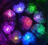 Wholesale Led Gadget Glow Lights - 100pcs Changing Color Novelty Gadget LED Ice cube Light Heart Shape glowing Ice Cubes Hear Clear Ice Cubes Decor LED Luminous Flash Light